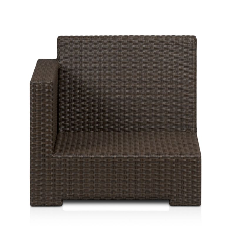 Lounge in Ventura's sink-in, chill-out modular seating. Left arm chair sits alone or configures with its sectional counterparts. Contemporary square frame in sturdy powdercoated aluminum is hand-wrapped in cool granite UV- and weather-resistant resin wicker with warm caramel overtones.<br /><br /><NEWTAG/><ul><li>UV-resistant, recyclable resin wicker</li><li>Aluminum frame with bronze powdercoat finish</li><li>Made in Indonesia</li></ul>