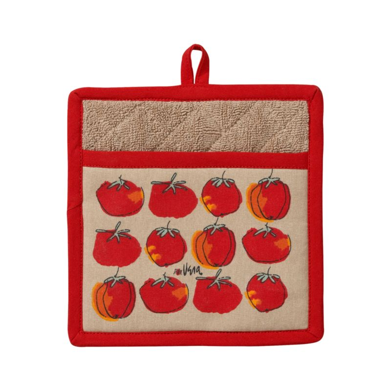 In our exclusive design from renowned '70s textile artist Vera Neumann, flowing line drawings of plump tomatoes with a beautiful red and orange watercolor palette row up on a neutral background. Cotton potholder is trimmed in red, lined with neutral cotton terrycloth, and finished with a center hanging loop.<br /><br /><NEWTAG/><ul><li>Designed by Vera Neumann</li><li>100% cotton, cotton terry lined</li><li>Polyester filling</li><li>Machine wash</li><li>Made in India</li></ul>