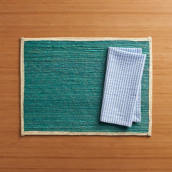 Veracruz Blue Placemat and Seersucker Blue Napkin