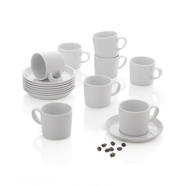 Set of 8 Verge 4 oz. Espresso Cups and Saucers
