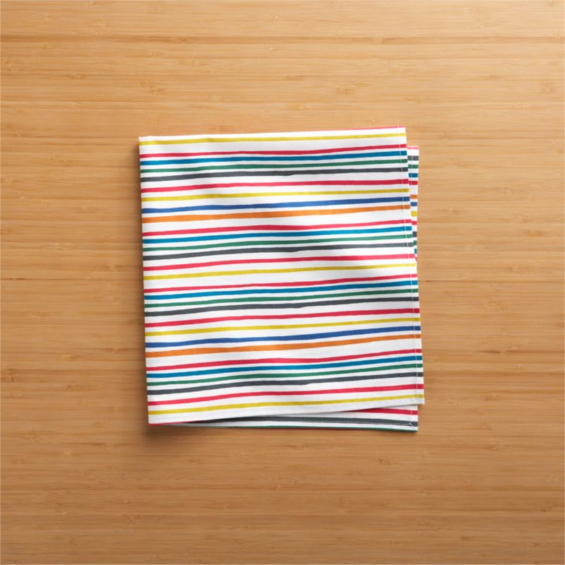 Designer Luli Sanchez strokes a rainbow of casual, jazzy stripes on white cotton for a napkin with plenty of pizzazz.<br /><br /><NEWTAG/><ul><li>Designed by Luli Sanchez</li><li>100% cotton</li><li>Machine wash cold, tumble dry; warm iron as needed</li><li>Do not dry clean</li><li>Made in India</li></ul><br />