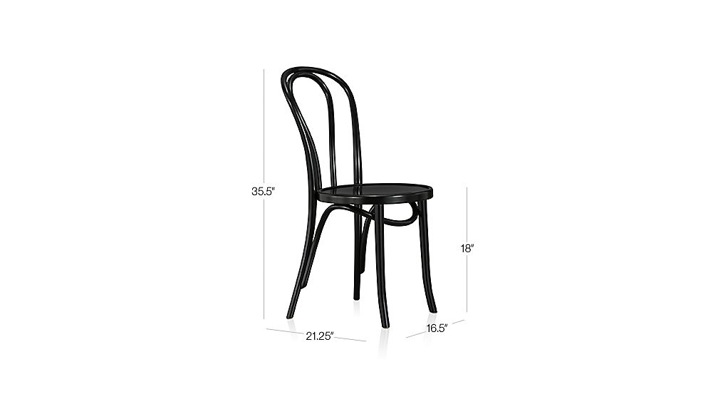 Vienna Black Wood Dining Chair Dimensions