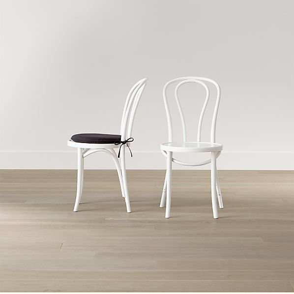 Vienna White Wood Dining Chair and Cushion