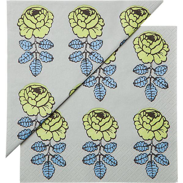 "Set of 20 Marimekko Vihkiruusu Green and Blue Paper 6.5"" Napkins"