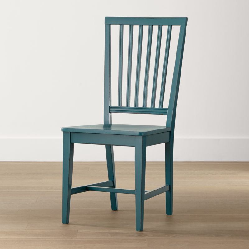 One of our most popular and versatile chairs, Village is handcrafted by Italian artisans with a sturdy, solid beechwood frame, generous molded seat and vertical slat back. <NEWTAG/><ul><li>Solid beechwood, beech veneer and plywood frame with deep teal finish</li><li>Made in Italy</li></ul><br />