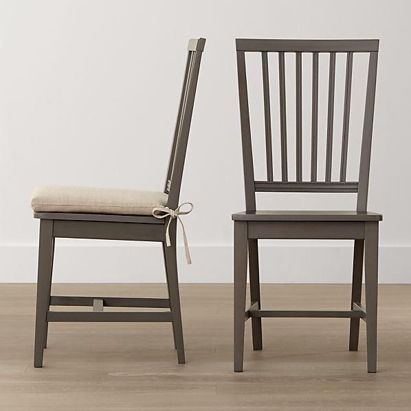 Village Grigio Side Chair and Natural Cushion