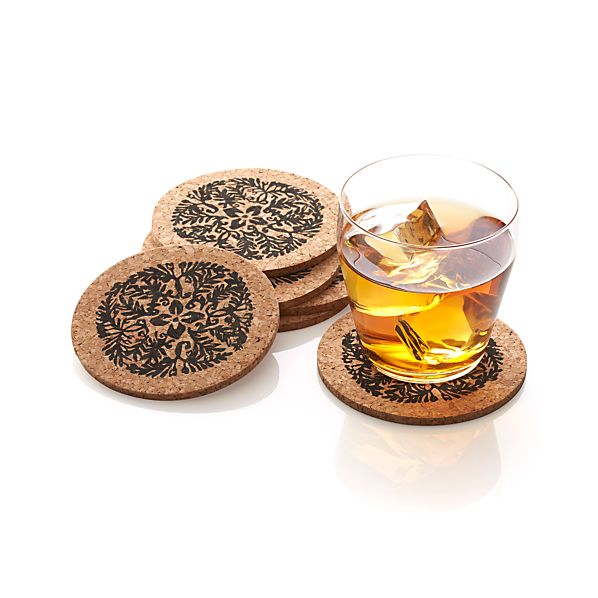 Set of 6 Vinca Cork Coasters