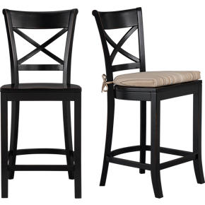 Vintner Black Barstool and Latte Stripe Cushion