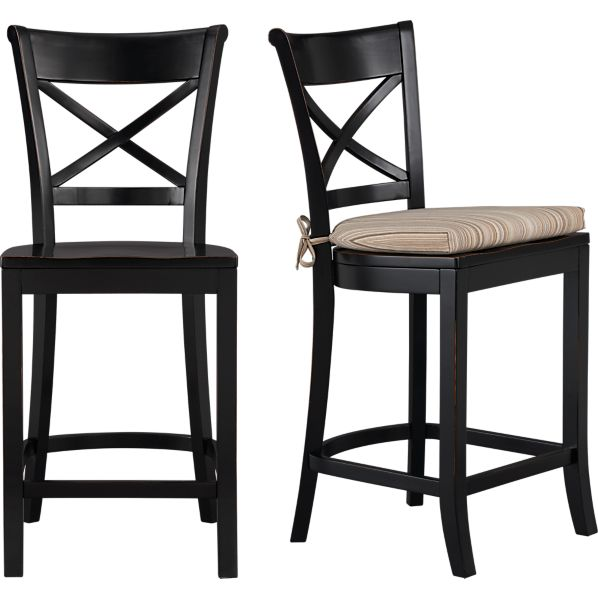 Vintner Black Bar Stool and Latte Stripe Cushion