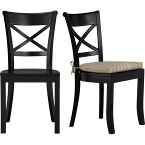 Vintner Black Side Chair and Latte Stripe Cushion
