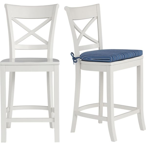 Vintner White Bar Stool and Indigo Stripe Cushion