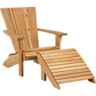 "Vista Adirondack Chair with Ottoman. 31""Wx37""Dx35""H chair, 22""Wx22.75""Dx14.75""H ottoman."