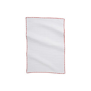 White Waffle Dishtowel with Red Stitching