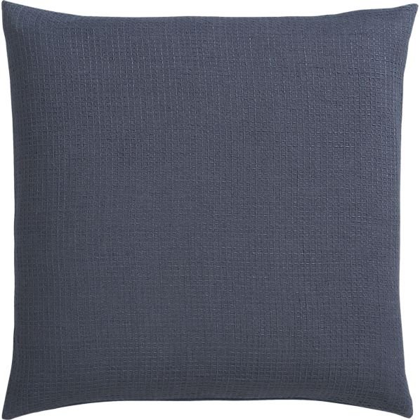 "Waffle Blue 23"" Pillow with Down-Alternative Insert"
