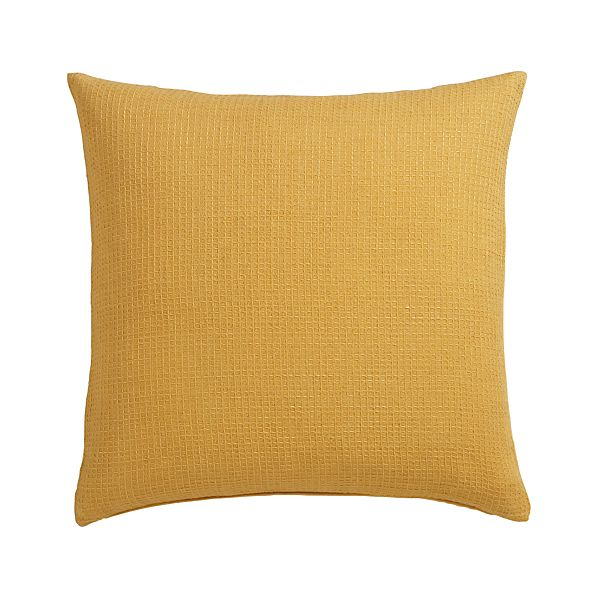 "Waffle Gold 23"" Pillow with Feather-Down Insert"