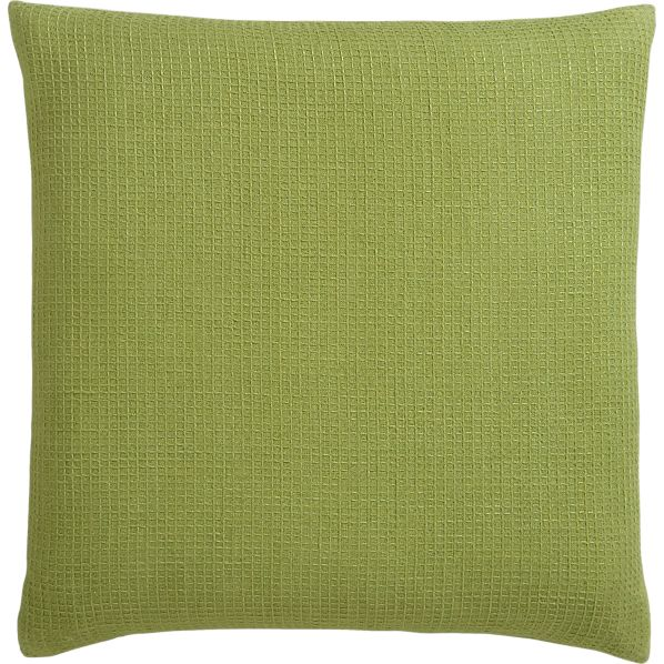 "Waffle Green 23"" Pillow with Feather-Down Insert"
