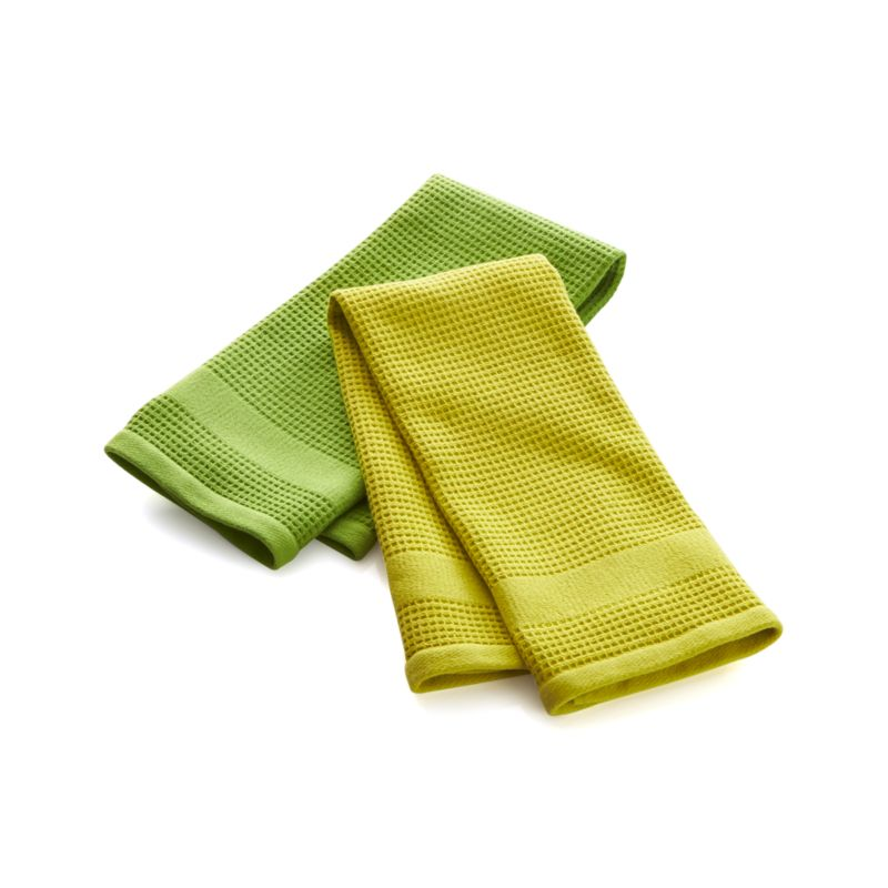 Set of 2 Waffle-Terry Green Dish Towels