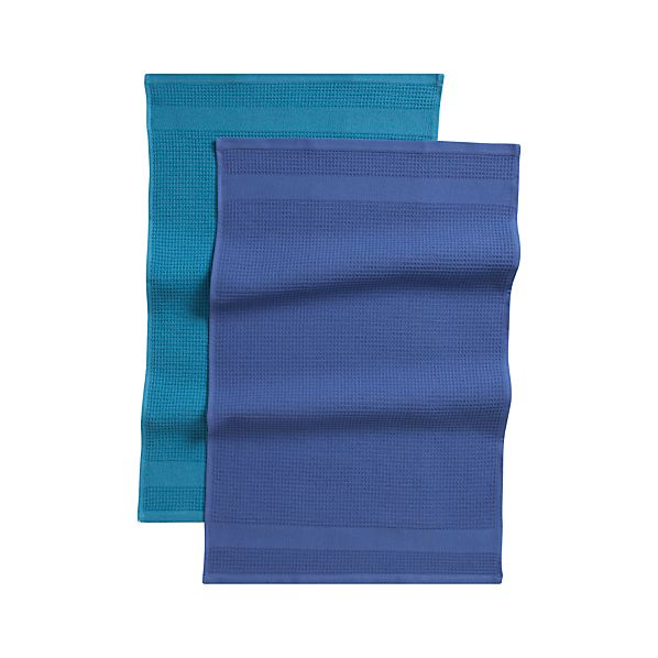 Waffle-Terry Blue Dishtowels Set of Two