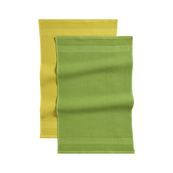 Waffle-Terry Green Dishtowels Set of Two