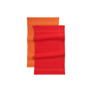 Set of 2 Waffle-Terry Red Dishtowels
