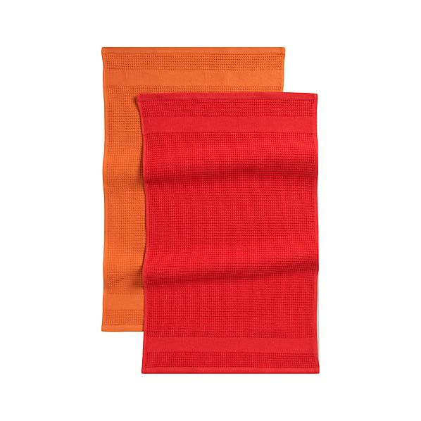Waffle-Terry Red Dishtowels Set of Two
