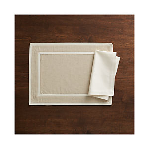 Walker Neutral Placemat and Sateen Ecru Napkin