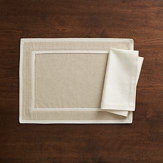 Walker Neutral Blue Placemat and Sateen Ecru Napkin