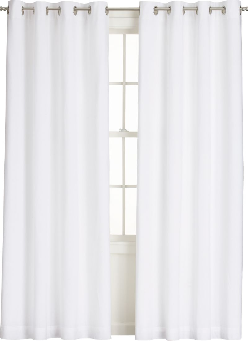 Navy Blue Cotton Curtains White Chair with Grommets
