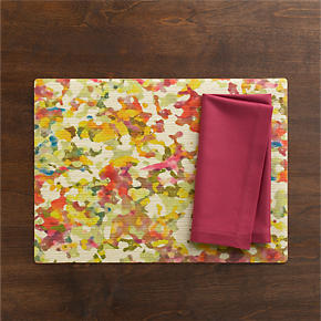 Watercolor Placemat and Cotton Berry Napkin