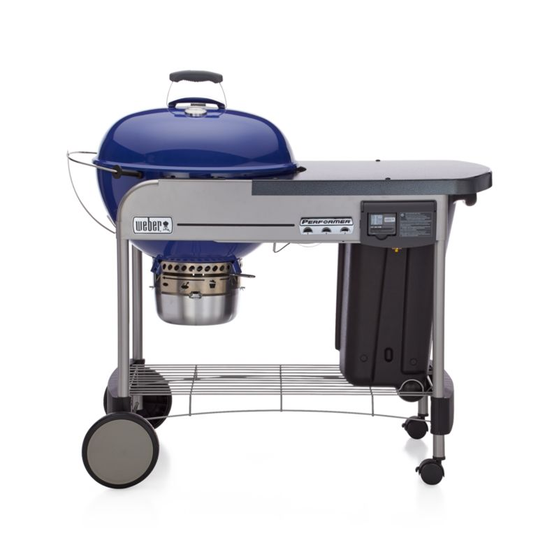 Weber 174 Blue Performer Deluxe Charcoal Grill Crate And Barrel