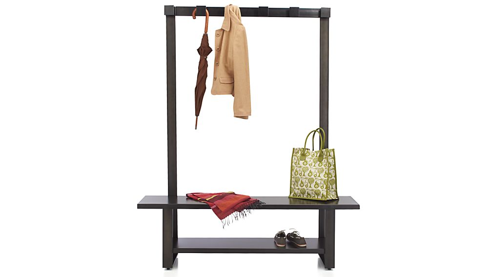 Welkom Hall Tree Bench With Coat Rack In Entryway Benches Crate And Barrel