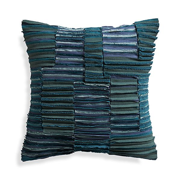 """Wendell Blue 20"""" Pillow with Down-Alternative Insert"""
