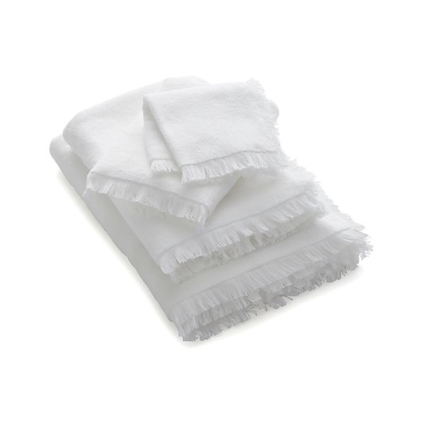 White Fringe Bath Towels
