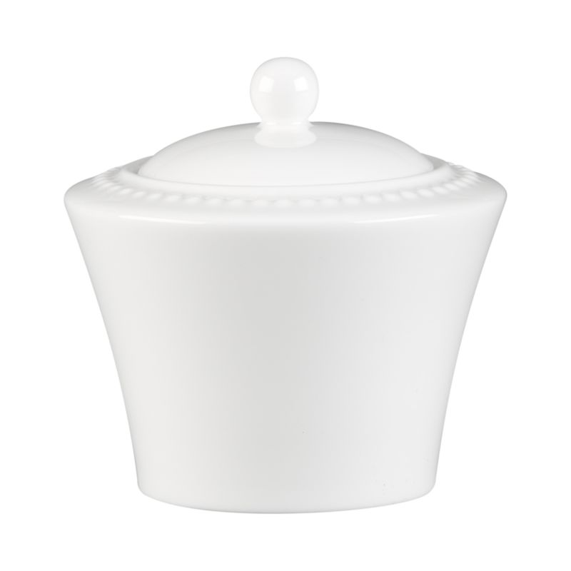 Inspired by the simple elegance of a pearl. Beautiful embossed dots on white bone china create a durable sugar bowl with timeless appeal. White Pearl dinnerware also available.<br /><br /><NEWTAG/><ul><li>Superior quality and design</li><li>Dishwasher- and microwave-safe</li><li>By Nikko Ceramics</li><li>Made in Japan</li></ul>