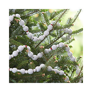 White Wood Bead Garland with Red String