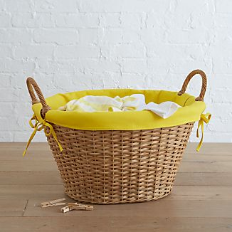 Wicker Laundry Basket with Yellow Liner