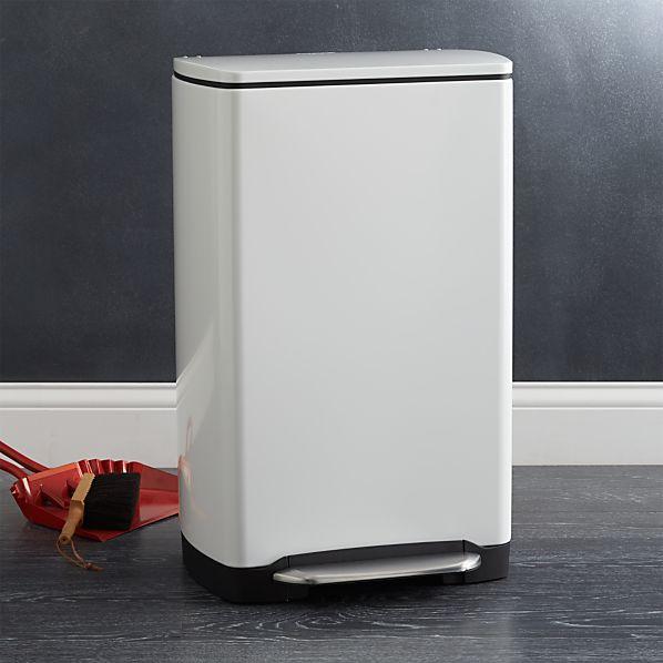 simplehuman ® 10-Gallon White Wide Rectangular Step Can