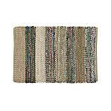 Wide Striped Grey Cotton 2'x3' Rag Rug