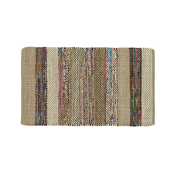 Wide Stripe Grey Rag Rug