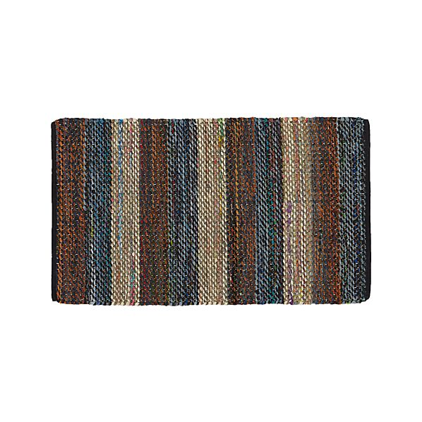 Wide Stripe Navy Rag Rug
