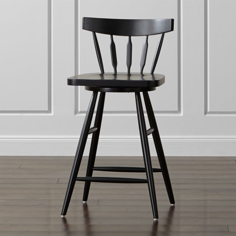 The Willa swivel counter stool's elegant beechwood frame, slender spindle back, angled legs and subtle saddle seat bring the classic Windsor chair up to date, scaled up for counters and high-dining tables.  <NEWTAG/><ul><li>Designed by Mark Daniel of Slate</li><li>Beechwood frame with black finish and clear lacquer topcoat</li><li>Mortise and tenon joinery</li><li>360-degree swivel mechanism</li><li>Feet with plastic glides</li><li>Made in China</li></ul><br />