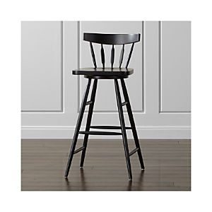 Willa Swivel Black Bar Stool