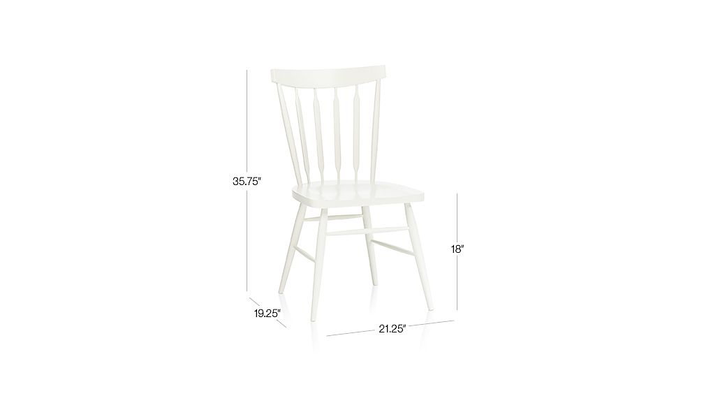 Willa White Side Chair Dimensions