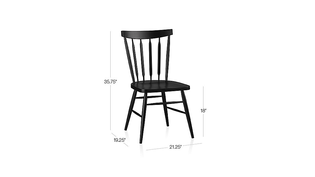 Willa Black Side Chair Dimensions