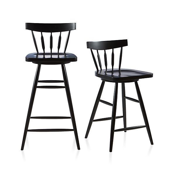 Willa Swivel Black Bar Stools Crate And Barrel