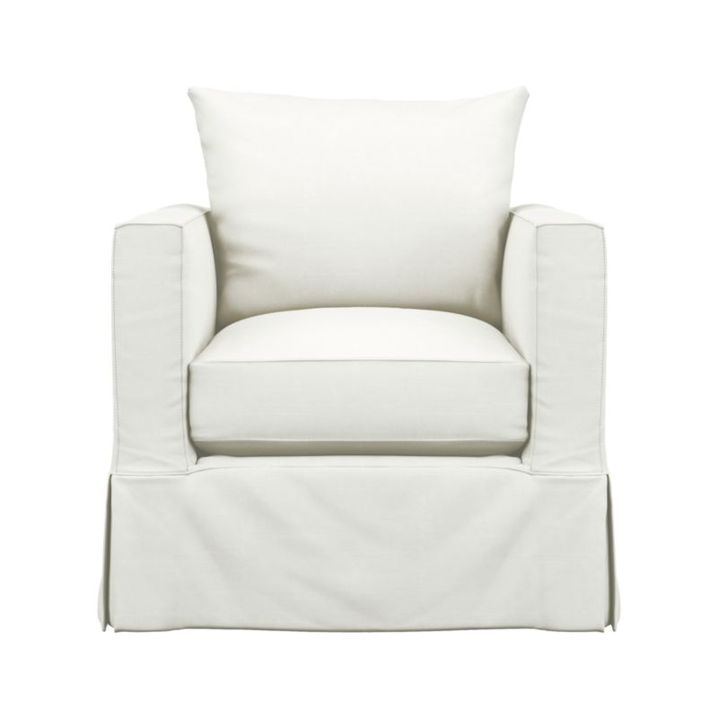 "Introducing a modern new sensibility for the casual cottage look. Contemporary design relaxes with the deep, sink-in hospitality of the plump-cushioned, slipcovered chair—but with minimalist track arms at a sheltering height (great for curling up), and crisp tailoring. Machine-washable slipcover with topstitch detailing is made of pre-washed cotton-blend for a softer, lived-in touch.<br /><br />Additional <a href=""http://crateandbarrel.custhelp.com/cgi-bin/crateandbarrel.cfg/php/enduser/crate_answer.php?popup=-1&p_faqid=125&p_sid=DMUxFvPi"">slipcovers</a> available below and through stores featuring our Furniture Collection.<br /><br />After you place your order, we will send a fabric swatch via next day air for your final approval. We will contact you to verify both your receipt and approval of the fabric swatch before finalizing your order.<br /><br /><NEWTAG/><ul><li>Eco-friendly construction</li><li>Certified sustainable, kiln-dried hardwood frame</li><li>Multi-layer seat cushion is soy- or plant-based polyfoam wrapped in fiber down blend and encased in downproof ticking</li><li>Seat back is fiber down blend encased in downproof ticking</li><li>Flexolator spring suspension</li><li>Slipcover fabric is pre-washed cotton-poly blend with topstitch and self-welt detail</li><li>Machine wash the removable slipcovers</li><li>Benchmade</li><li>See additional frame options below</li><li>Ma"