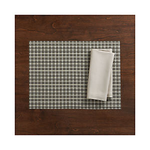 Chilewich ® Windowpane Grey Placemat and Fete Dove Cotton Napkin