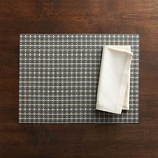 Chilewich® Windowpane Grey Placemat and Sateen Ivory Napkin