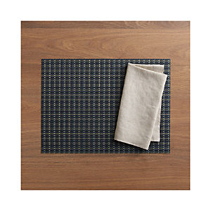 Chilewich ® Windowpane Blue Placemat and Helena Dark Natural Linen Napkin