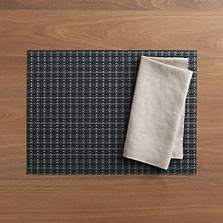 Chilewich® Windowpane Blue Placemat and Helena Dark Natural Linen Napkin